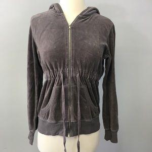 Blue chic gray zipper velour hoodie